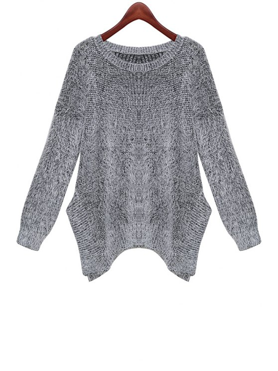 affordable Irregular Hem Long Sleeve Sweater - GRAY ONE SIZE(FIT SIZE XS TO M)