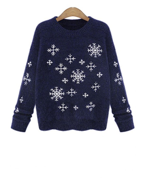 women Snowflake Pattern Mohair Sweater - BLUE ONE SIZE(FIT SIZE XS TO M)