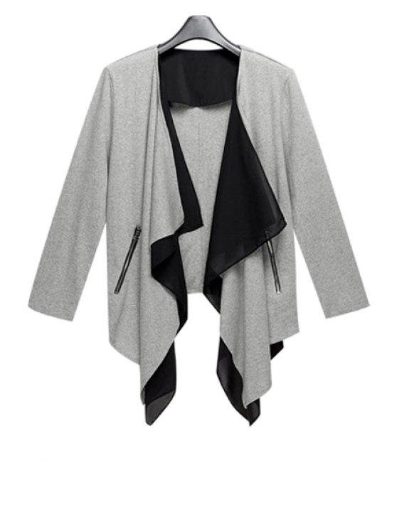 chic Color Block Irregular Design Coat - GRAY S