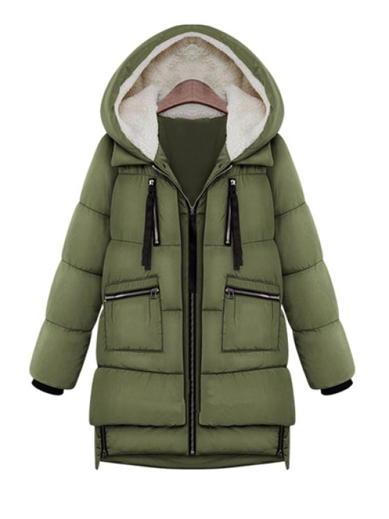 best Hooded Solid Color Zipper Coat - ARMY GREEN L