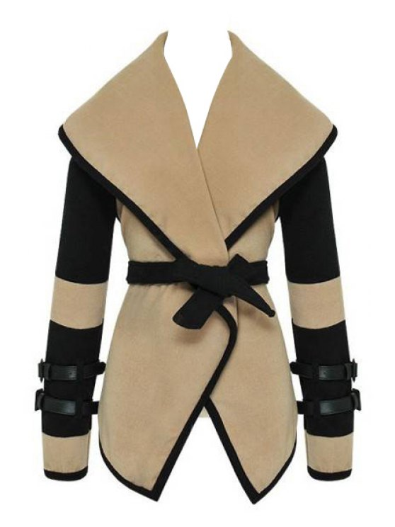 fancy Turn-Down Collar Color Blcok Belt Coat - COLORMIX ONE SIZE(FIT SIZE XS TO M)