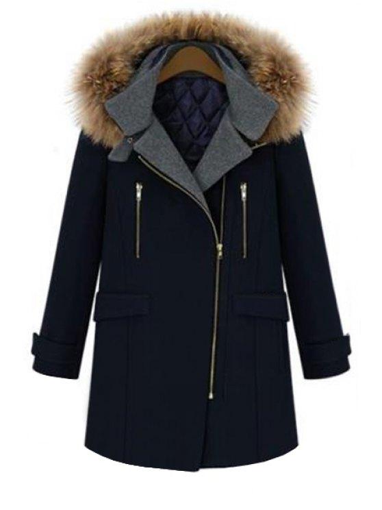 unique Faux Fur Hooded Solid Color Coat - DEEP BLUE S