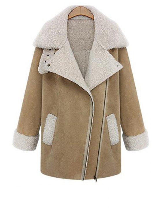 outfits Lamb Wool Splicing Zipper Lapel Coat - KHAKI S