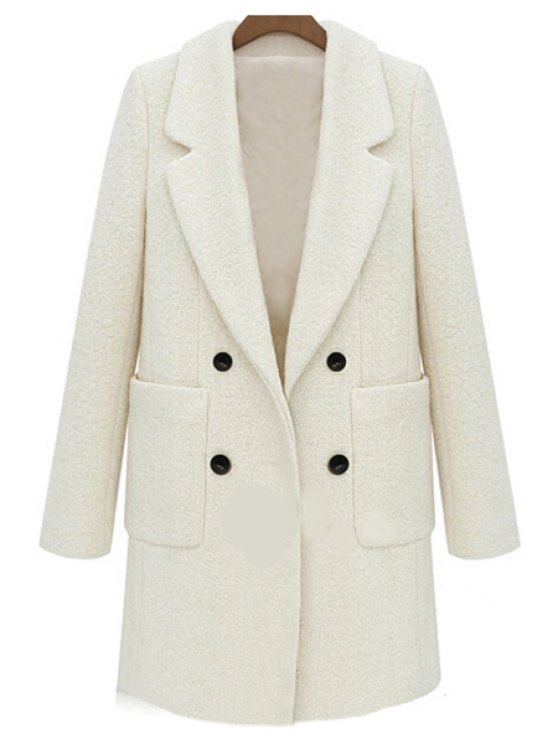 unique Double-Breasted Solid Color Coat - OFF-WHITE S