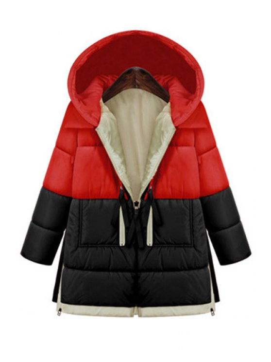 lady Hooded Color Block Zipper Coat - RED L