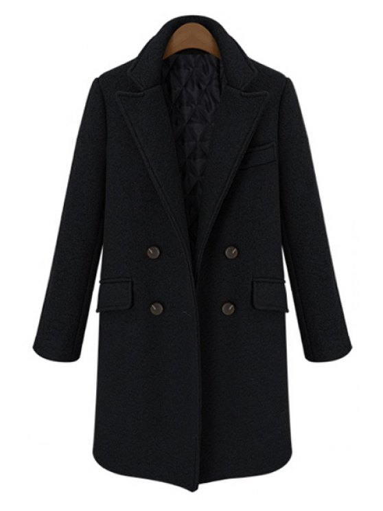 chic Double-Breasted Lapel Worsted Coat - BLACK S