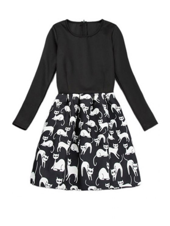 shop Kitten Print Long Sleeve Dress - BLACK S