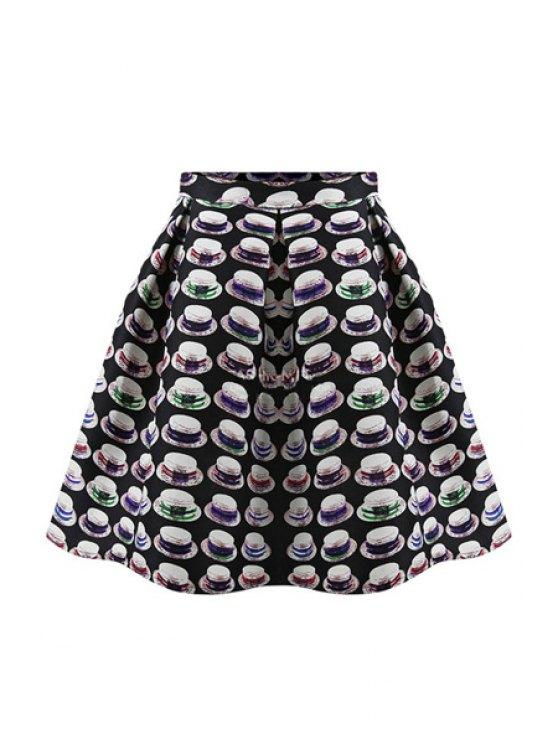 chic Hat Print A-Line Skirt - BLACK S