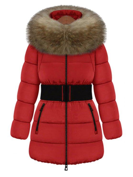women's Faux Fur Collar Solid Color Belt Coat - RED M
