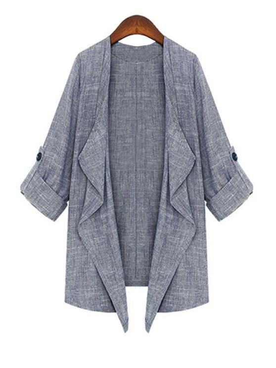 online 3/4 Sleeve Solid Color Linen Coat - GRAY M