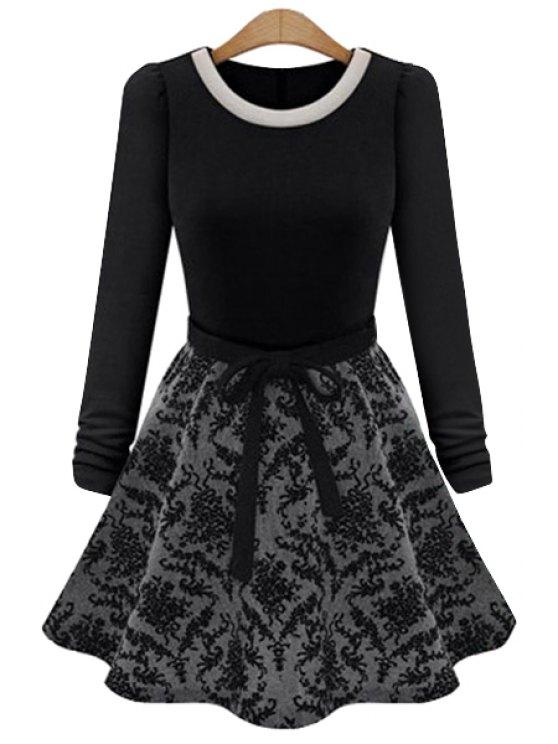 online Floral Splicing Long Sleeve Dress - BLACK M