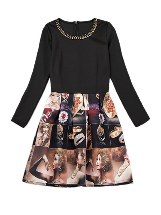 latest Figure Print Long Sleeve Dress - AS THE PICTURE S