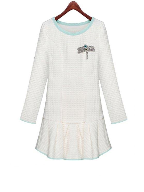 fancy Ruffles Long Sleeve Diamante Dress - WHITE S