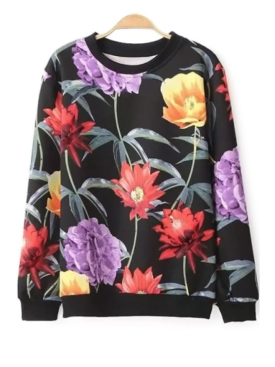 new Floral Long Sleeve Sweatshirt - BLACK S