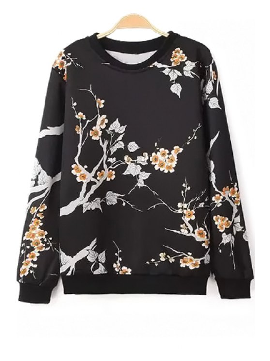 outfits Long Sleeve Floral Sweatshirt - BLACK S