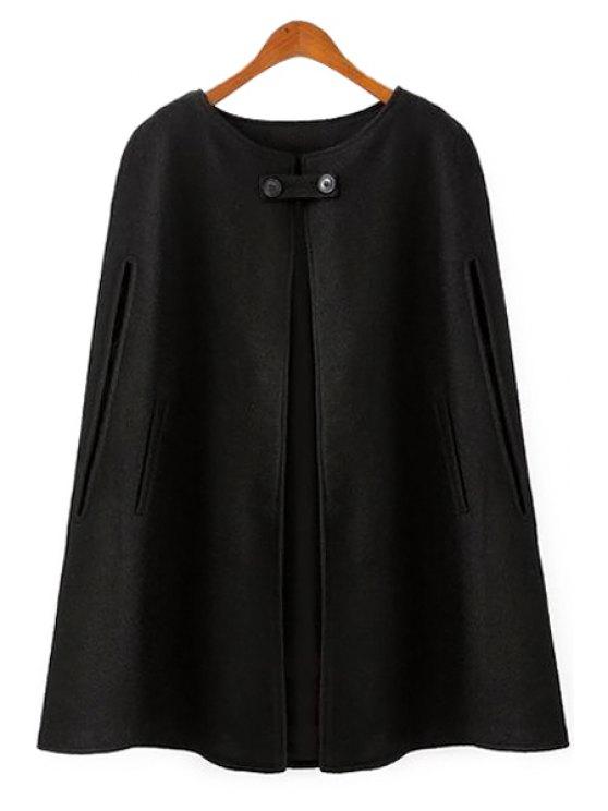 unique Black Worsted Cape-Style Coat - BLACK S