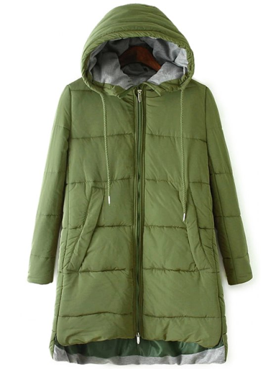 affordable Color Block Hooded Zipper Coat - ARMY GREEN S