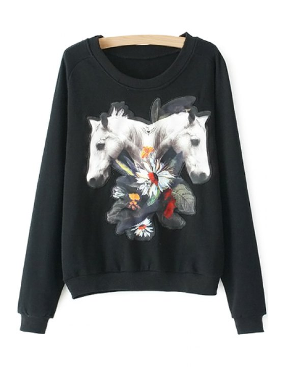latest Floral and Horse Pattern Sweatshirt - BLACK S