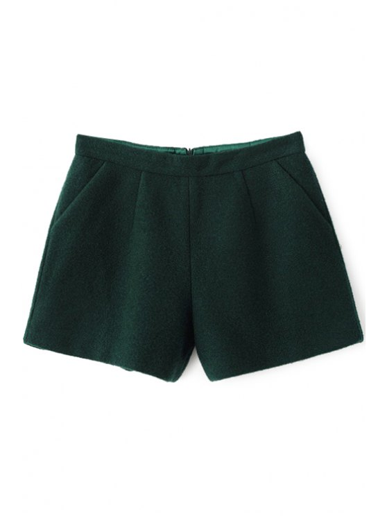 womens Solid Color Wide Leg Shorts - BLACKISH GREEN S