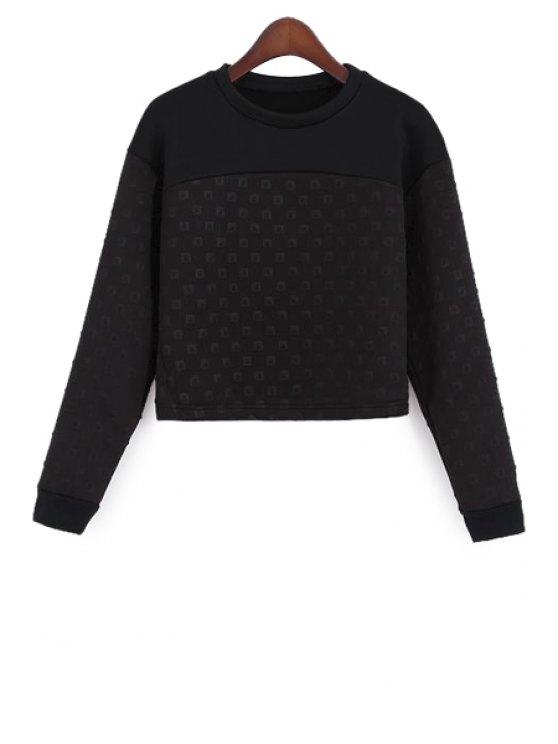 sale Black Long Sleeve Splicing Sweatshirt - BLACK S