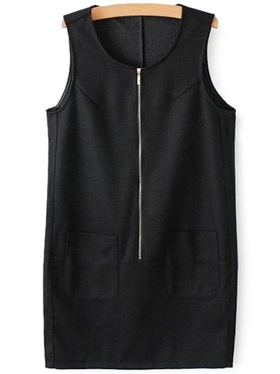 outfits Solid Color Pocket Zipper Sundress - BLACK S