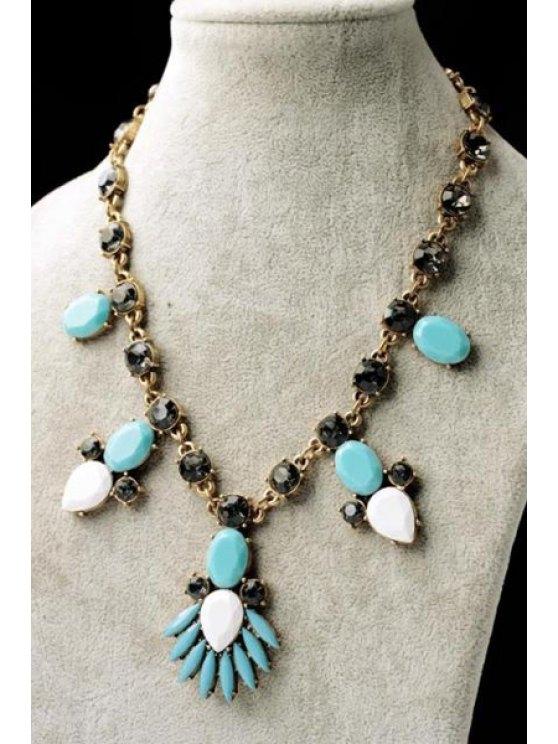 best Faux Gem Pendant Necklace - AS THE PICTURE