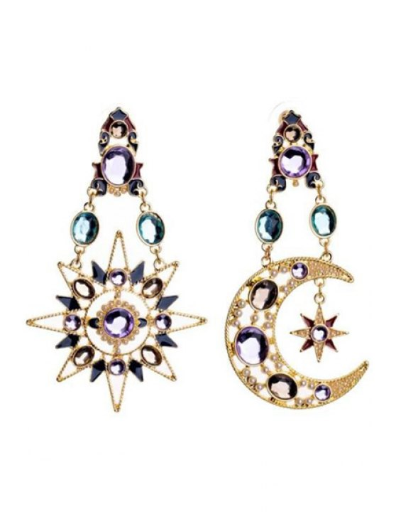 unique Pair of Moon and Sun Crystal Decorated Earrings - AS THE PICTURE