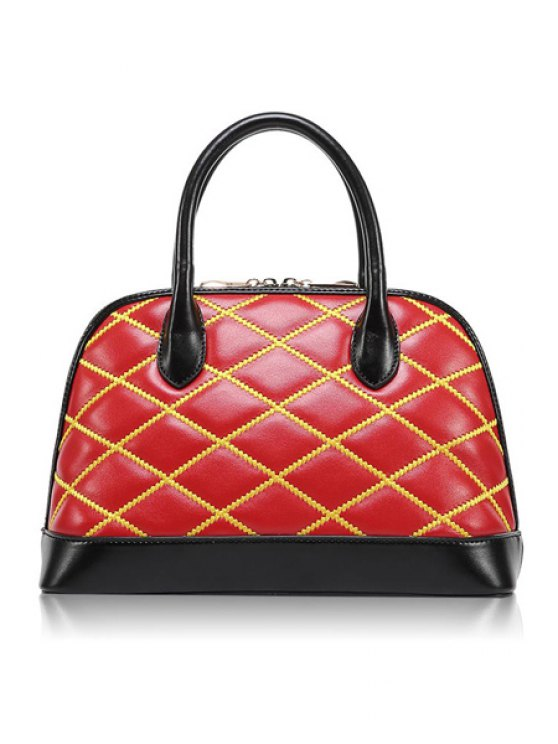 shops Color Block Checked Zipper Tote Bag - RED