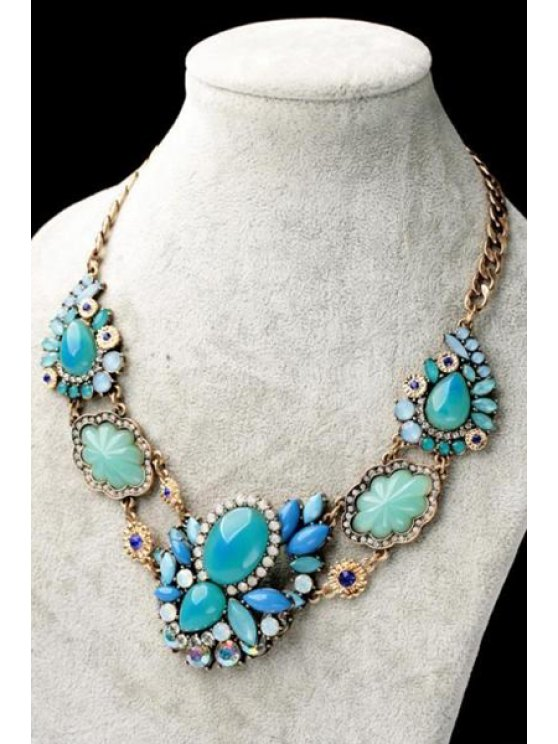new Faux Gem Embellished Flower Necklace - AS THE PICTURE