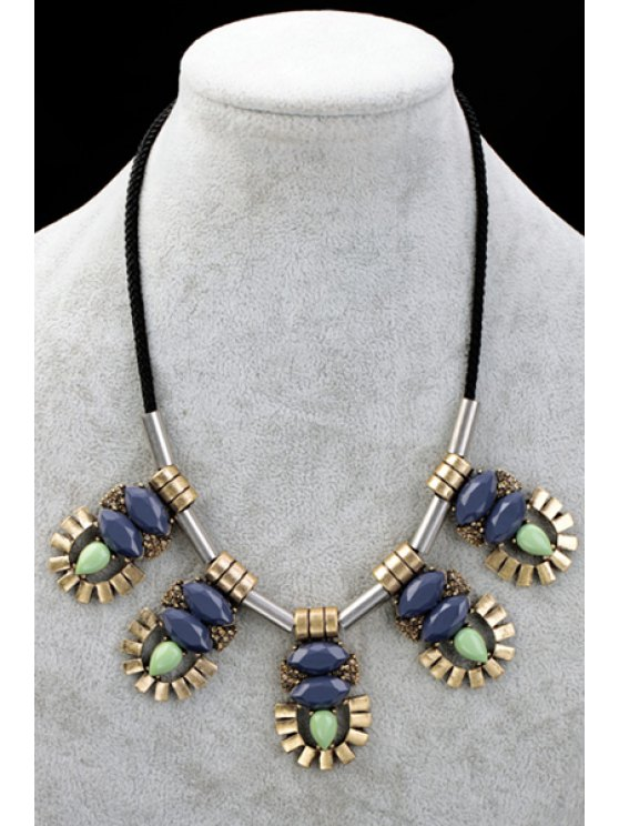 hot Faux Gem Decorated Pendant Necklace - AS THE PICTURE