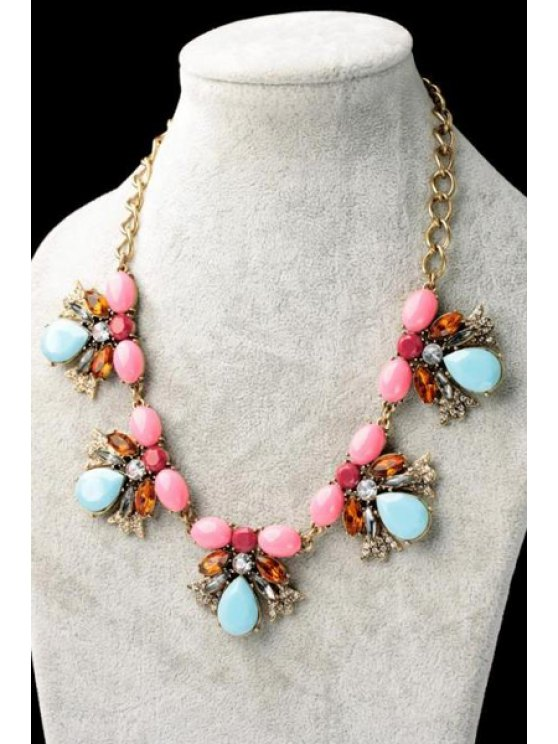 outfit Faux Gem Decorated Flower Pendant Necklace  - AS THE PICTURE