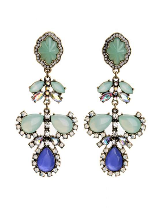 womens Pair of Rhinestone and Faux Gem Embellished Earrings - AS THE PICTURE