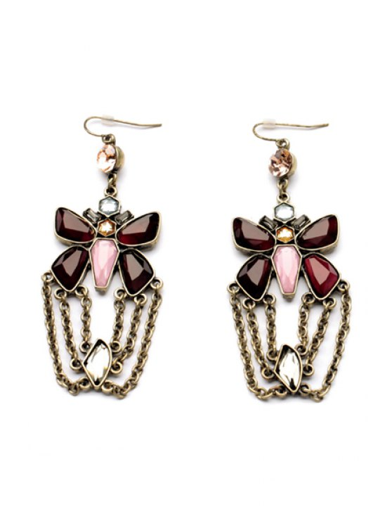 women Pair of Artificial Ruby Decorated Earrings - COLORMIX