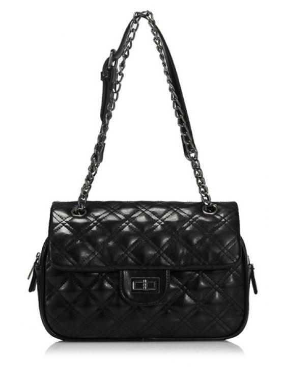 womens Checked Chain Hasp Shoulder Bag - BLACK