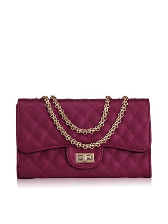women Chain Checked Hasp Shoulder Bag - WINE RED