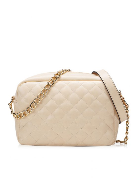 shops Checked Chain Solid Color Crossbody Bag - APRICOT
