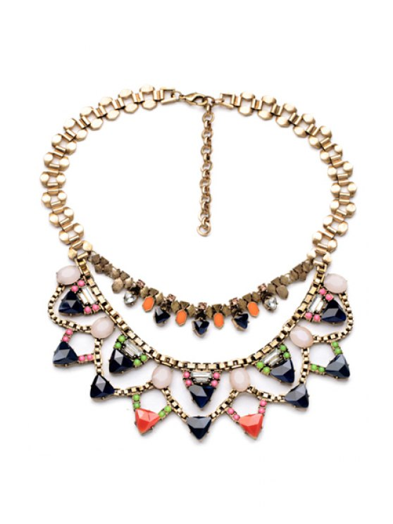 trendy Faux Gem Multi-Layered Necklace  - AS THE PICTURE