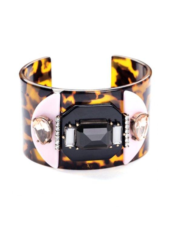 fashion Faux Gem Leopard Print Bracelet - LEOPARD