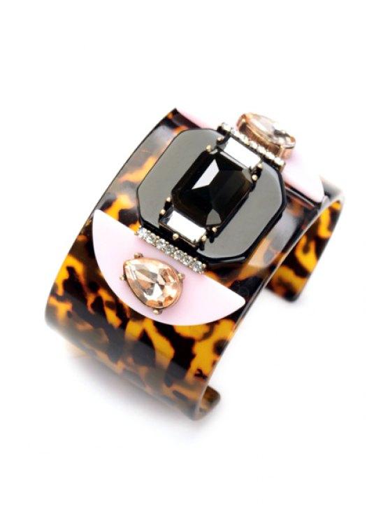Faux Gem Leopard Print Bracelet - LEOPARD  Mobile