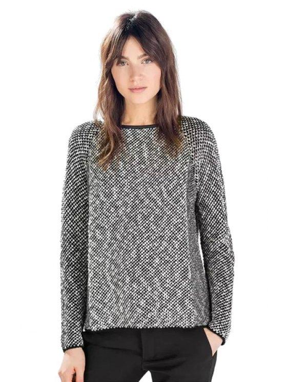 hot Fishing Net Pattern Long Sleeve Sweater - GRAY ONE SIZE(FIT SIZE XS TO M)