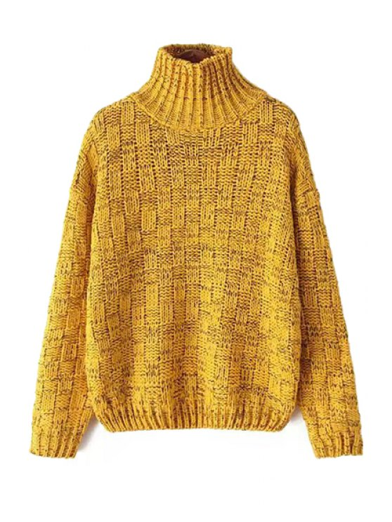 outfit Yellow Turtle Neck Checked Sweater - YELLOW ONE SIZE(FIT SIZE XS TO M)