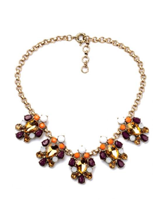 shop Faux Gem Pendant Necklace  - AS THE PICTURE