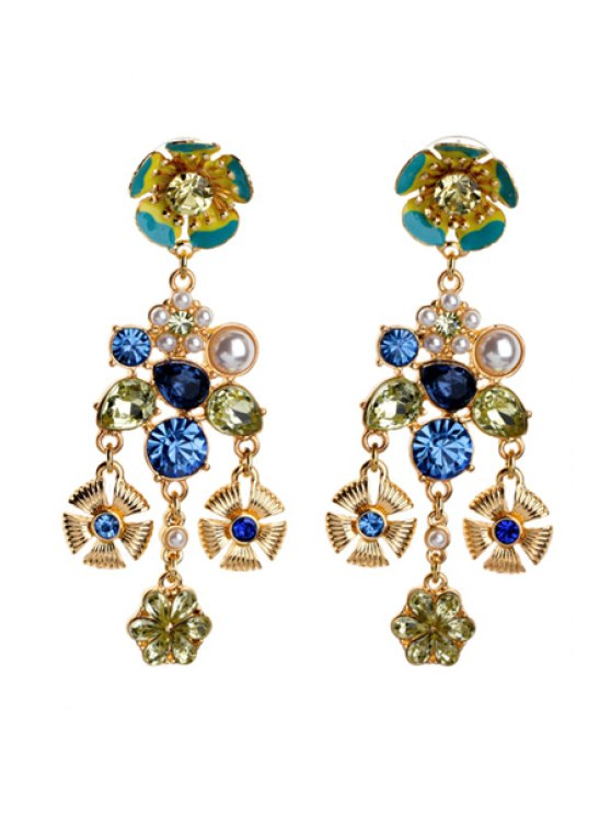 trendy Pair of Gemstone Decorated Pendant Earrings - AS THE PICTURE