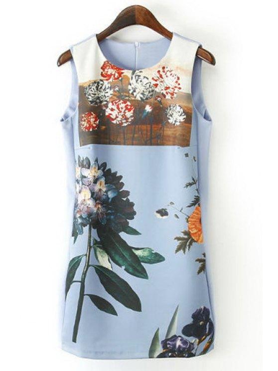 lady Floral Print Jewel Neck Sundress - BLUE S
