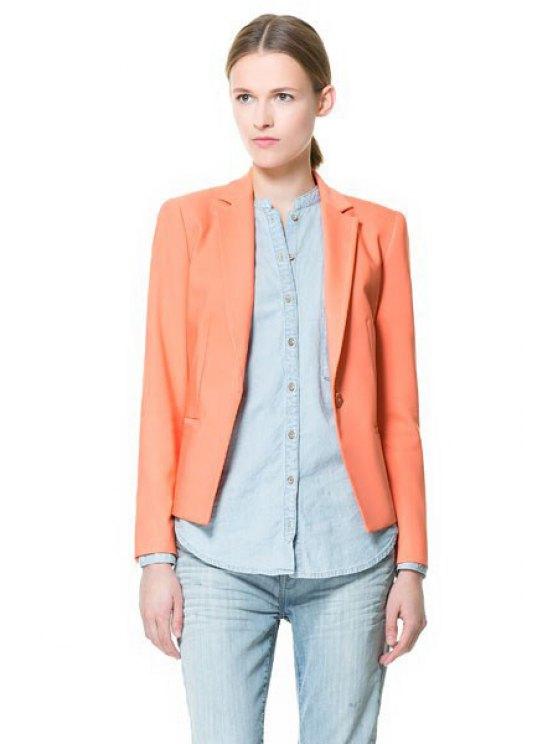 buy Solid Color Lapel One Button Blazer - ORANGE S