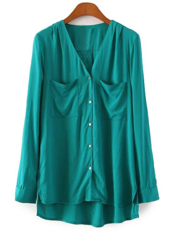 fashion Single-Breasted V-Neck High Low Shirt - GREEN S