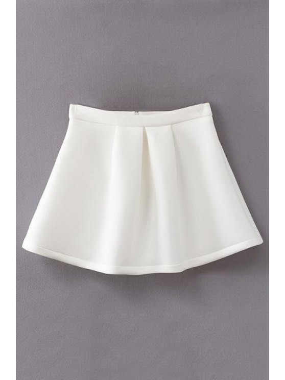 new A-Line Pleated Solid Color Skirt - WHITE S