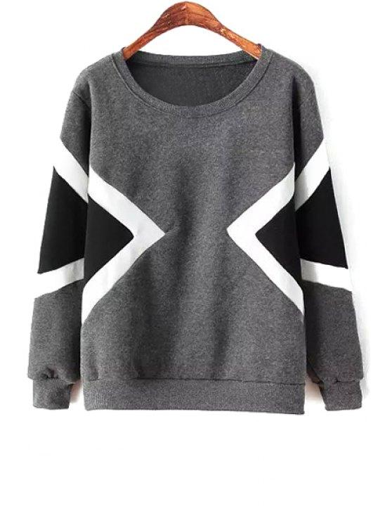 online Argyle Color Block Sweatshirt - GRAY ONE SIZE(FIT SIZE XS TO M)