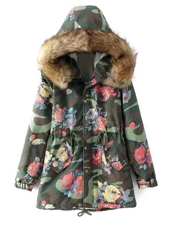 outfit Floral Camouflage Print Hooded Coat - ARMY GREEN M