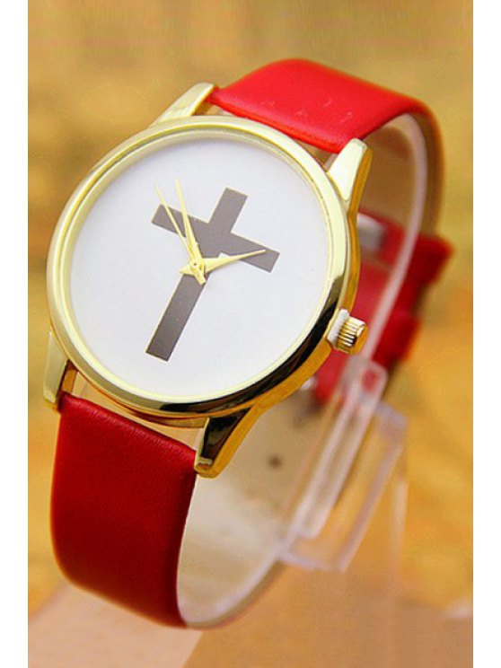 sale PU Leather Cross Pattern Watch - RED